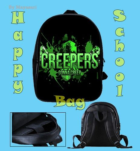 Custom School Bag - MINECRAFT creepers Bag This high-quality  school bag is the perfect accessory for school children. Made from high-grade PU leather. It is the perfect way for children to carry all