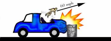 This depicts that an object in motion will stay in motion. This is shown by the man still traveling the speed of the car even though it has come to an abrupt stop.