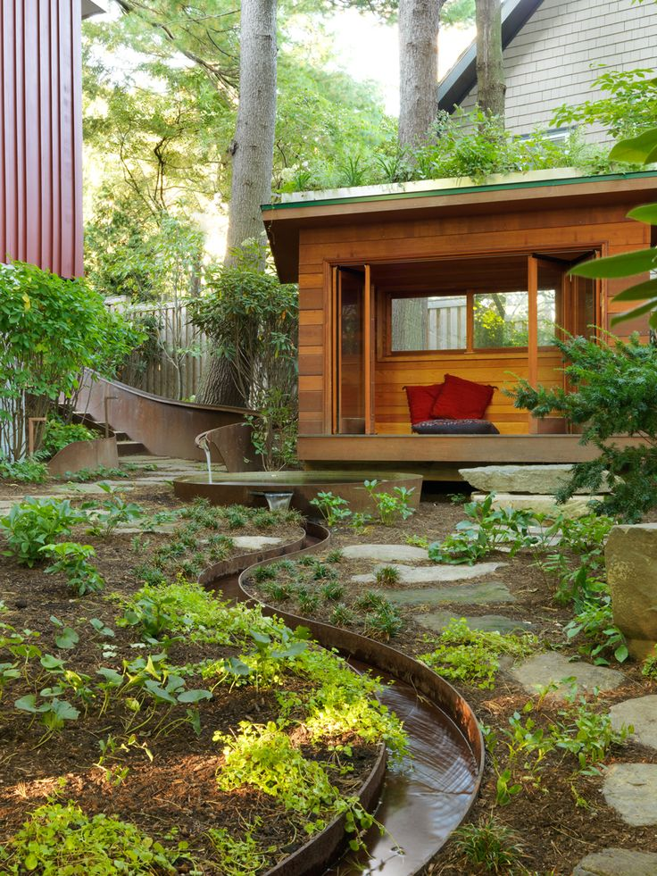 Corten steel rill and meditation pool. Landscape design by JMMDS, Photograph by Susan Teare