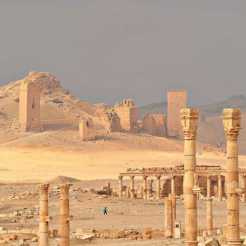 Palmyra, Syria.  The roman ruins with the medieval fort in the back drop.