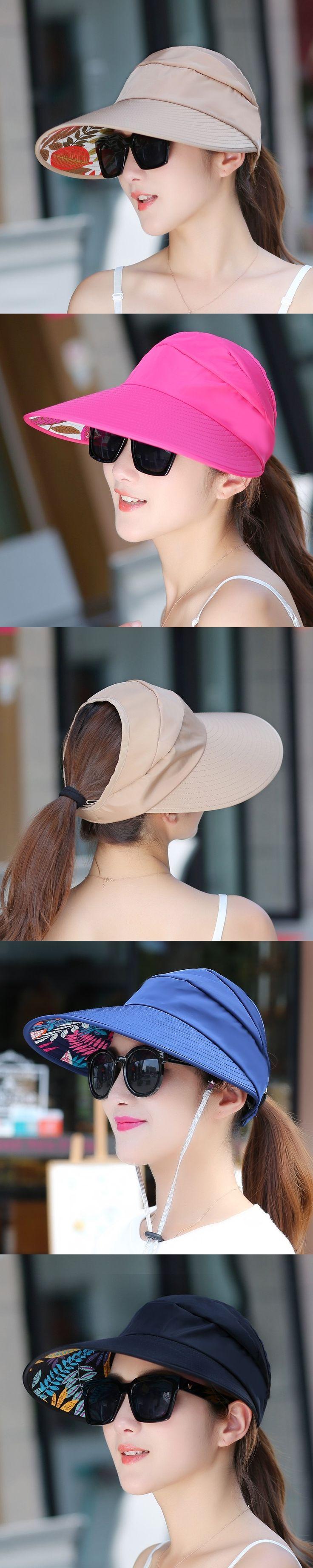 New Summer Girls Foldable Sun Hats Sun Visor Hat Sun Hats for Women With Big Heads Beach Hat UV Protection PL2