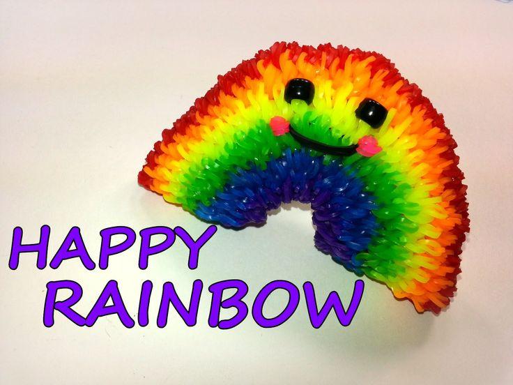 3-D Happy Rainbow Tutorial by feelinspiffy (Rainbow Loom)