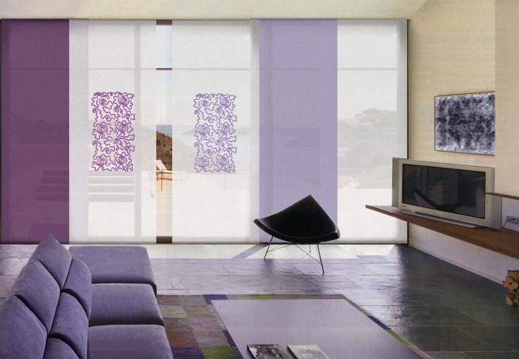 Paneles japoneses Moddo, en cortinadecor, con tejido base lino blanco y aplique de cinta en varios colores, Espectaculares ¡