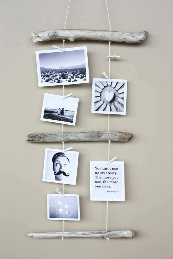 hanging driftwood photo display