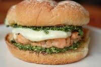 Pesto Salmon Burgers. I had something like this at Akershus restaurant at Walt Disney World a few months back, and it was WONDERFUL! Of course, I would require half a salad to go on top of it. :)