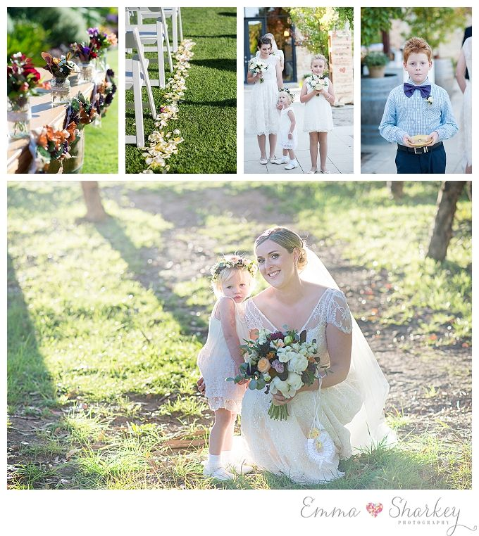 Golding Winery Wedding in the Adelaide Hills Photographed by Adelaide Wedding Photographer Emma Sharkey DIY Wedding Inspiration Lace Wedding Gown Wedding Flowers  Bride and Groom