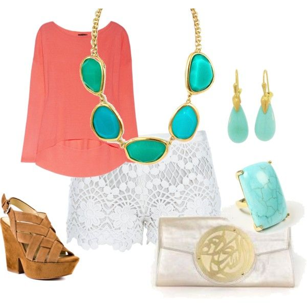 coral, love the shorts: Colors Combos, Dreams Closet, Coral Shirts, Summer Outfits, White Lace Shorts, Necklaces, Summer Colors, Blue Jewelry, Spring Outfits