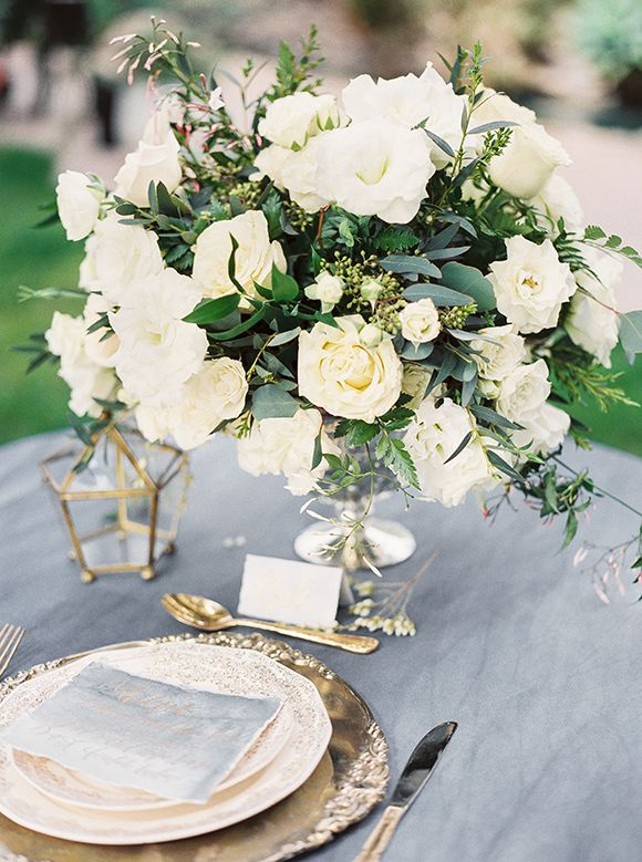 Table setting and floral arrangement // Old World and classic | Karen's Garden // Lara Lam Photography // via Magnolia Rouge