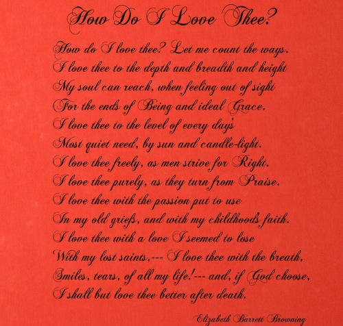 the theme of love in how do i love thee by elizabeth barret browning