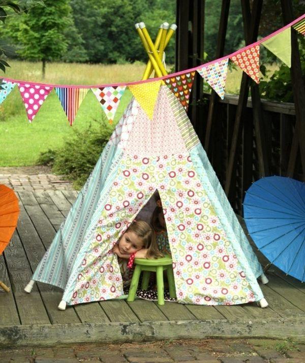 Kinder Zelt Garten selber bauen Rohr Patchwork
