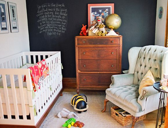 Chalkboard wall nursery // Little Green NotebookNurseries Decor, Chalkboard Walls, Boys Nurseries, Chalkboards Painting, Kids Room, Chalk Boards, Baby Room, Chalkboards Wall, Accent Wall