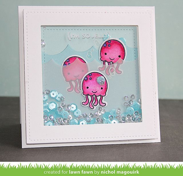 Lawn Fawn So Jelly and Ocean Wave Border shaker card