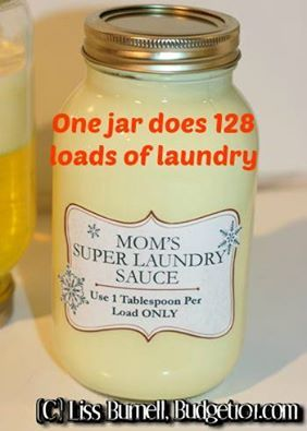 ♥ Mom's Homemade Super Laundry Sauce - One Single tablespoon does a whole load of wash! about $1.76 for 128 loads of laundry ~ This makes 1/2 Gallon of concentrate ~ 1 bar Fels Naptha (Yes, the ENTIRE Bar!) 1 cup 20 Mule Team Borax 1 cup Arm & Hammer Washing Soda (NOT BAKING SODA!!) 4 cups of hot water   www.budget101.com/myo-household-items/whipped-cream-super-laundry-soap-3993.html
