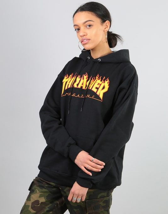 4c1f76830bc0 #The #Thrasher #Womens #Flame #Logo #Hoodie #in #Black #features #a  re-#designed #version #of #the #iconic #Thrasher #logo, #screenprinted  #front #and ...