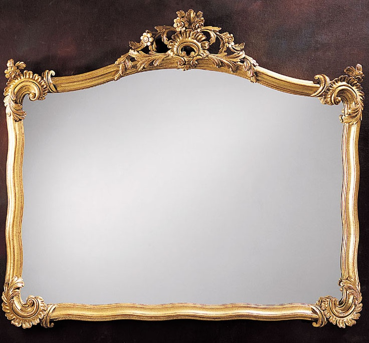 Neapolitan horizontal carved wood mirror in gold metal leaf finish