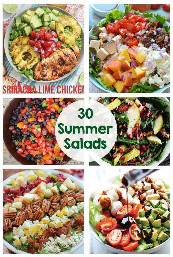 30 Yummy Salads - Chicken Salads, Pasta Salads, Salads with Acovado... So many great recipes! Great for summer dinners.