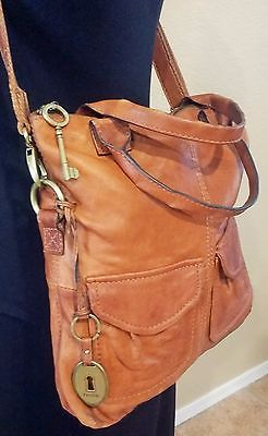 FOSSIL LONG LIVE VINTAGE MODERN CARGO TOTE CROSS BODY BROWN LEATHER Bag ZB4524