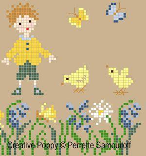 Chicks in a Spring Garden cross stitch pattern by Perrette Samouiloff