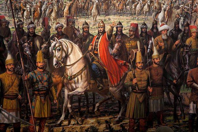 Ottoman Sultan Mehmed II with his troops during the fall of Constantinople in 1453.