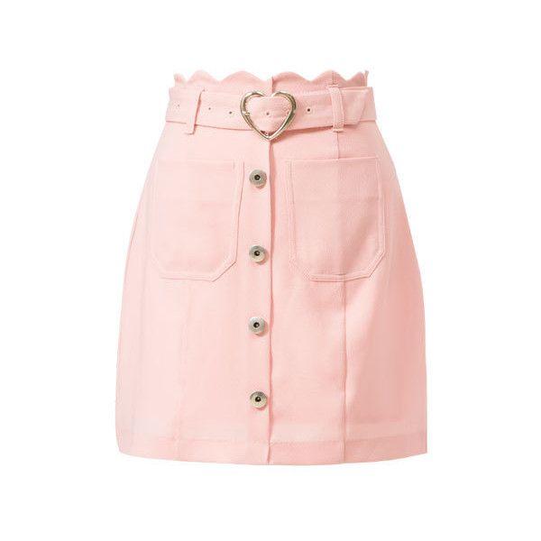 スカラップレトロタイトスカート(ボトム)ならプチプラファッション通販の夢展望【公式サイト】 (3.440 RUB) ❤ liked on Polyvore featuring skirts, bottoms and faldas