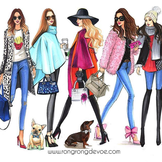 Fashion illustration of Street fashion by Houston fashion illustrator Rongrong DeVoe, more of her fashion illustrations at www.rongrongdevoe.com