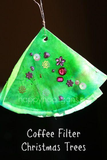 Coffee Filter Christmas Tree Ornaments - happy hooligans