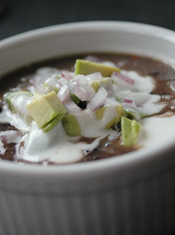 Black bean soup with ham