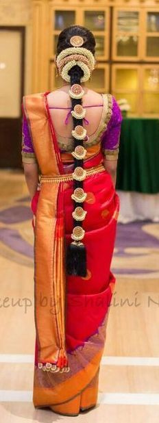 Vibrant Red and Purple Silk Bridal Saree with Pelli Poola Jada