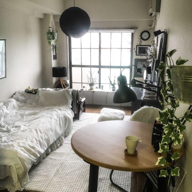 chiikokoさんの、マンション,海外インテリアに憧れる,縦長の部屋,丸いダイニングテーブル,IKEA,狭い部屋,一人暮らし,賃貸,1K,モノトーン,Overview,のお部屋写真
