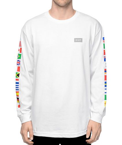 HUF Mens Graphic Flags L S T-Shirt White Size S New  24665d65ebd4