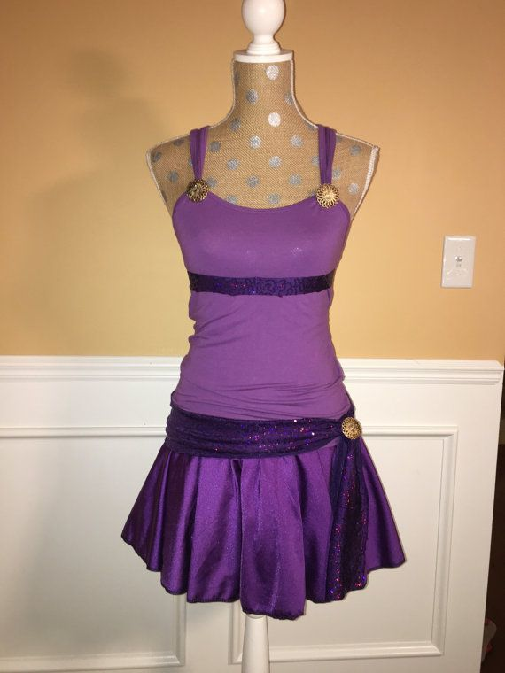Meg Inspired purple Running costume/skirt/tank with belt