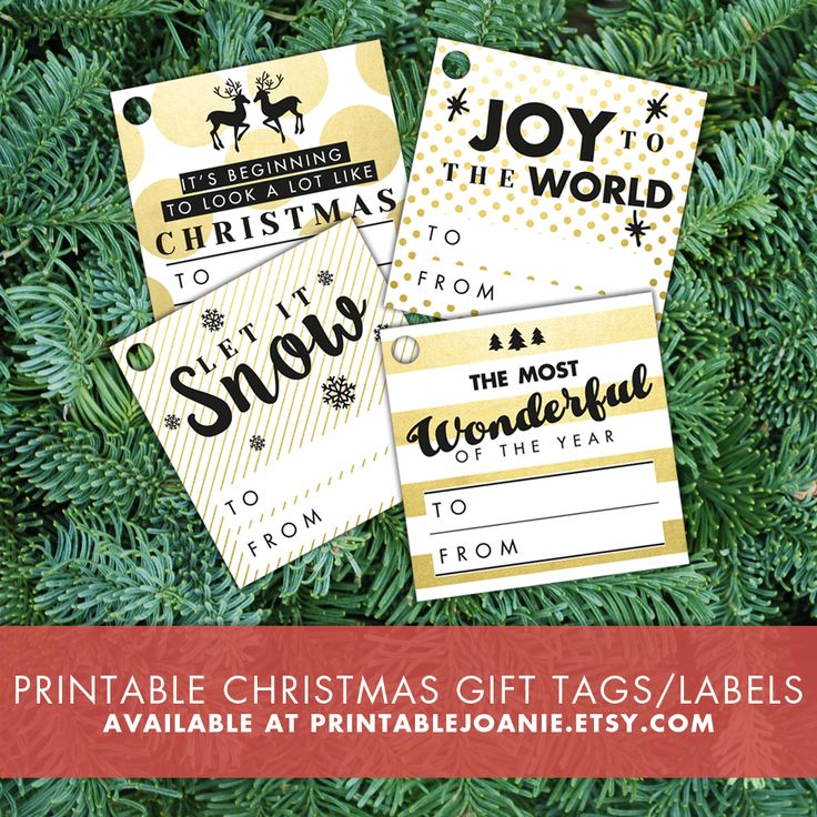 """Print these fun """"Black and Gold"""" Christmas gift tags, hole punch them and use a cute little string or ribbon to attach them to your presents!"""