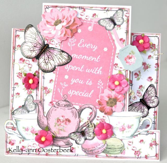 A step card by Kelly-ann Oosterbeek made using the High Tea Collection from Kaisercraft and Imaginarium Designs Chipboard www.kellyanno.com