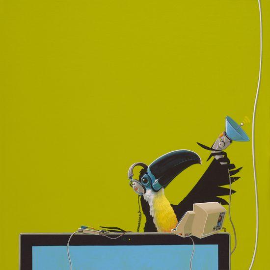Groefsnaveltoekan /  Channel-billed Toucan -   60 x 60 cm -  acrylverf op doek /  acrylic on canvas -  2015 -    in opdracht / in commission