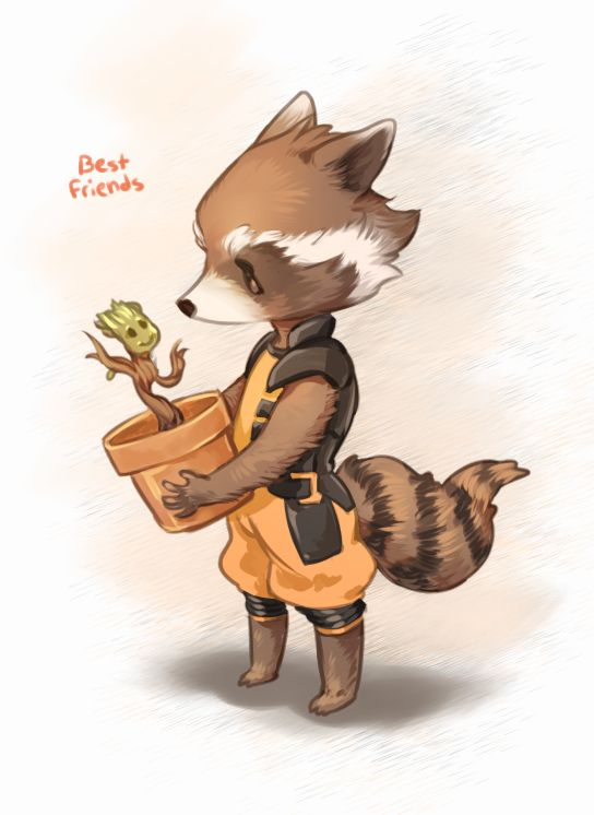 Rocket and Groot by Catcoconut