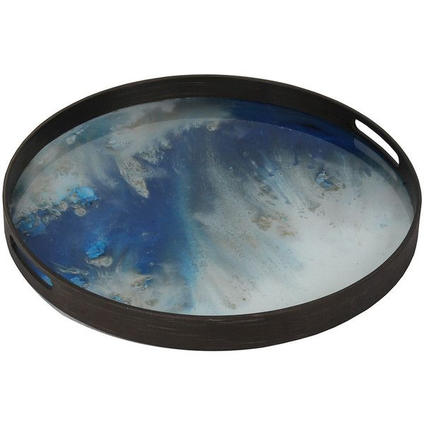 Notre Monde Blue Mist Glass Tray - Small (610 SAR) ❤ liked on Polyvore featuring home, home decor, small item storage, blue, blue home accessories, notre monde trays, blue tray, glass tray and glass home decor