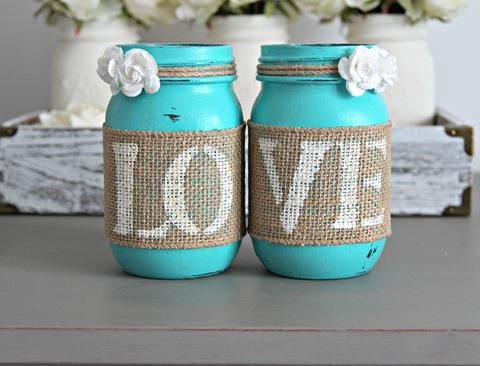 Rustic Turquoise Wedding Table Centerpiece - Jarful House