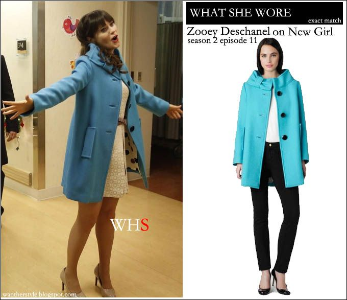 WHAT SHE WORE: Zooey Deschanel as Jess in teal blue coat on New Girl season 2 episode 11 ~ I want her style - What celebrities wore and where to buy it