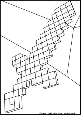 Print Out Minecraft Diamond Sword Coloring Pages