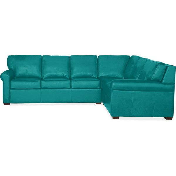 "Carlin 117"" Sectional with Queen Plus Comfort Sleeper in Elmo Soft... ($5,200) ❤ liked on Polyvore featuring home, furniture, sofas, couches, teal sofa, leather couch, leather furniture, teal blue furniture and teal leather sofa"