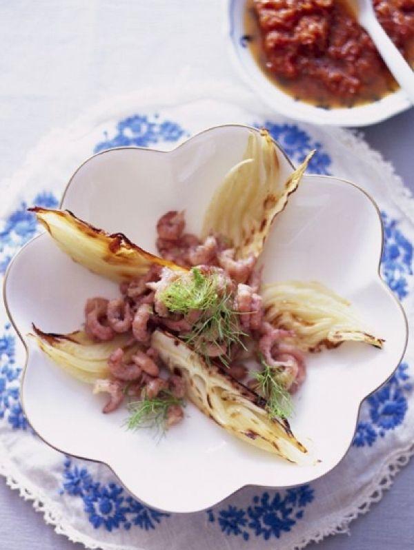 Hollandse Garnalen-salade met Gegrilde Venkel en Zongedroogde Tomaten-dressing. Elle recept