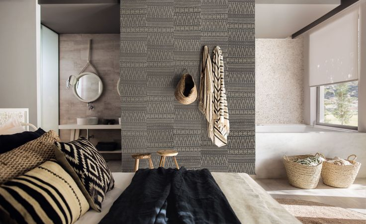 Dark Grey Aztec Embroidery Wallpaper by WYNIL. The timeless feel of weaves in your home or office. Super easy installation, worldwide shipping :)