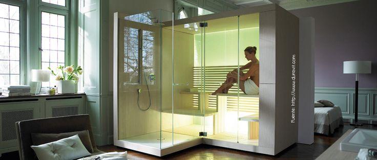 Ducha con sauna incorporado.