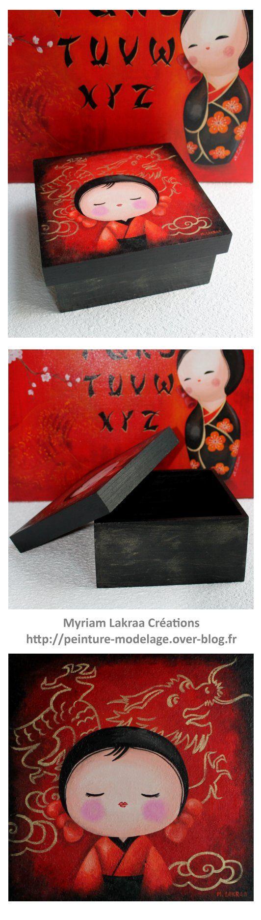 Coffret kokeshi Bo u00eete en bois Peinture acrylique et vernis satiné Dimensions 21×21 cm  # Vernis Peinture Acrylique Bois