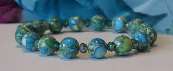 Green Stone Bead Bracelet / Teal Turquoise by BeadablesBracelets