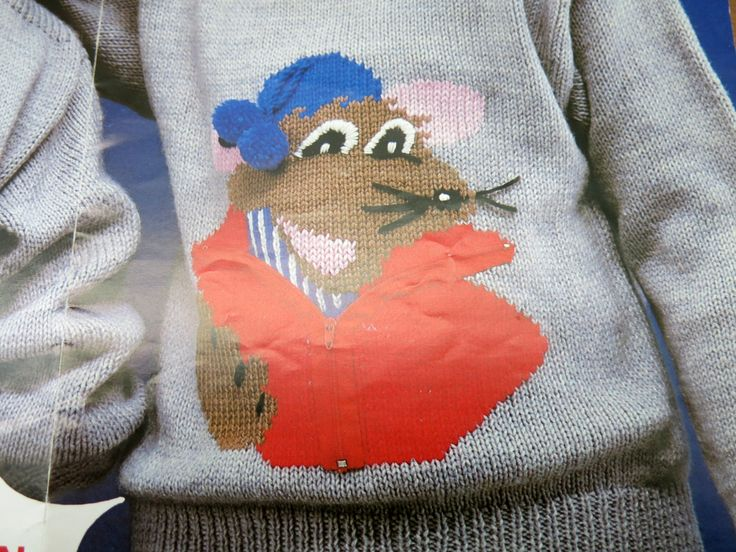 childs knitted sweater - original knitting pattern - Roland Rat knitting pattern - Robin pattern - double knitting pattern - uk seller by itsaMessyNest on Etsy