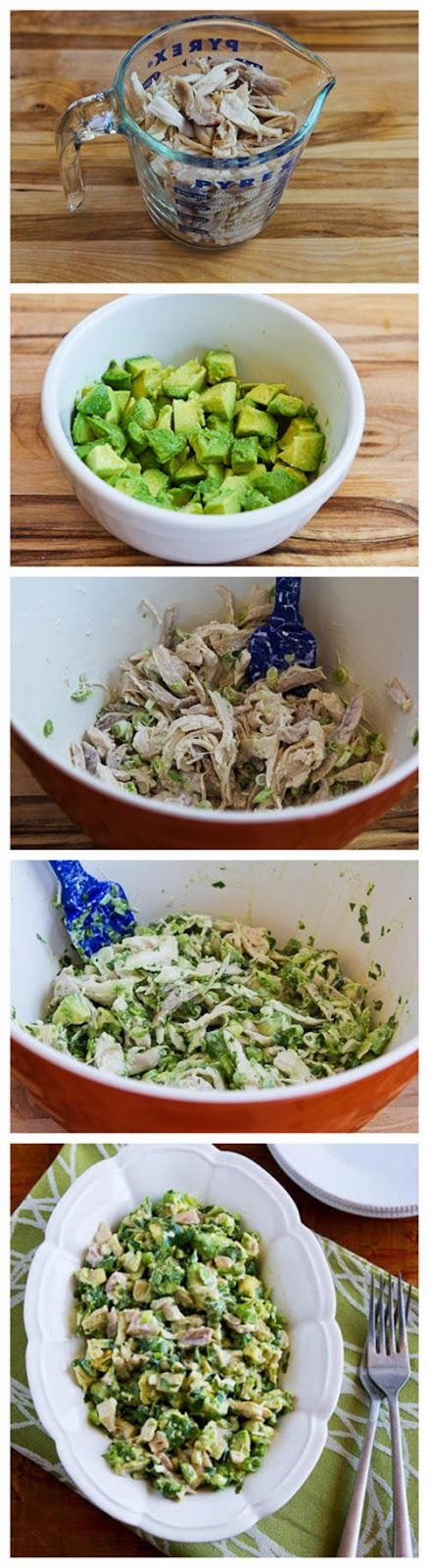 Chicken and Avocado Salad with Lime. 2 cups cooked chicken, shredded into large pieces, 2 medium avocados diced, 1 T + 1 T fresh squeezed lime juice salt, to taste, 1/4 cup thinly sliced green onion, 1/2 cup finely chopped fresh cilantro, 2 T mayo or light mayo.