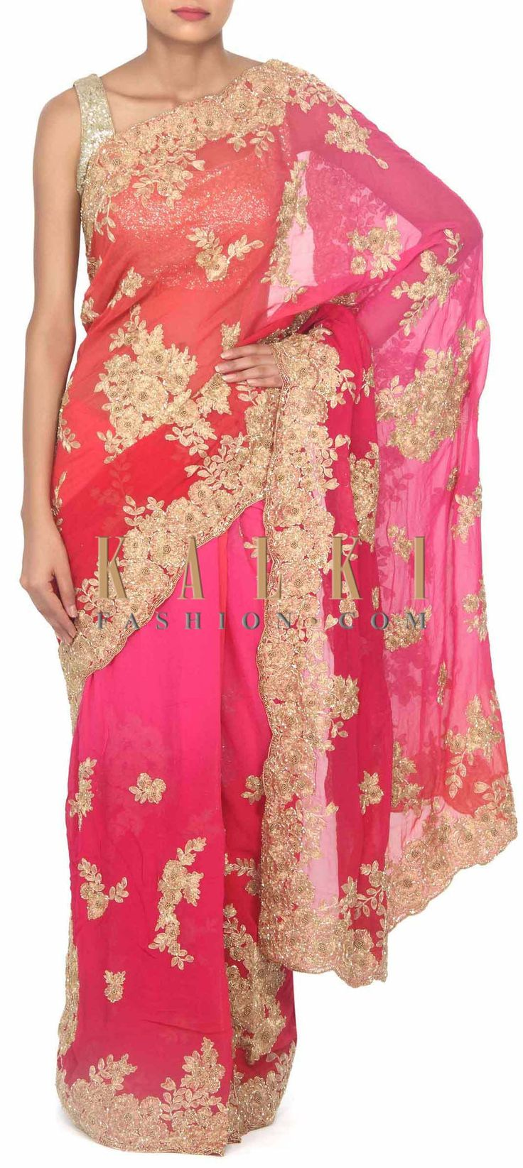 Buy this Pink and coral saree adorn in zari and kardana in floral only on Kalki