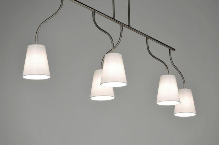 Hanglamp 71325 modern staal rvs stof wit langwerpig