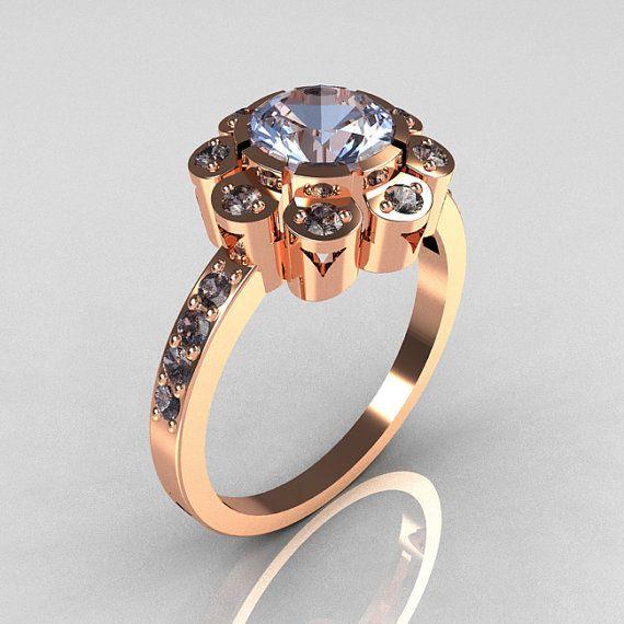 Modern Edwardian 18K Rose Gold 1.0 CT Round Blue Topaz Engagement Ring R80-18KRGBT